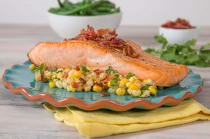 Salmon topped with Esquites and Bacon
